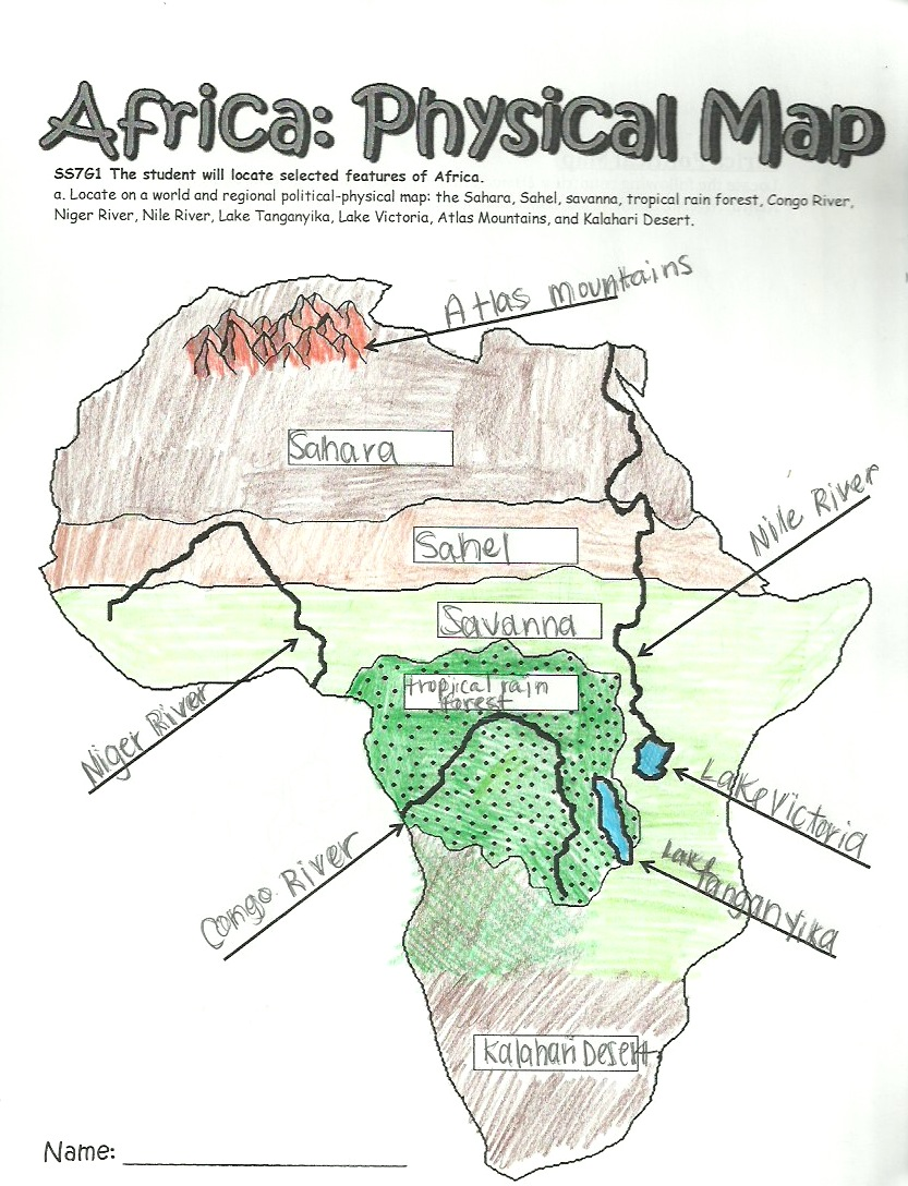 Physical Features Of Africa Map Worksheet | Campinglifestyle